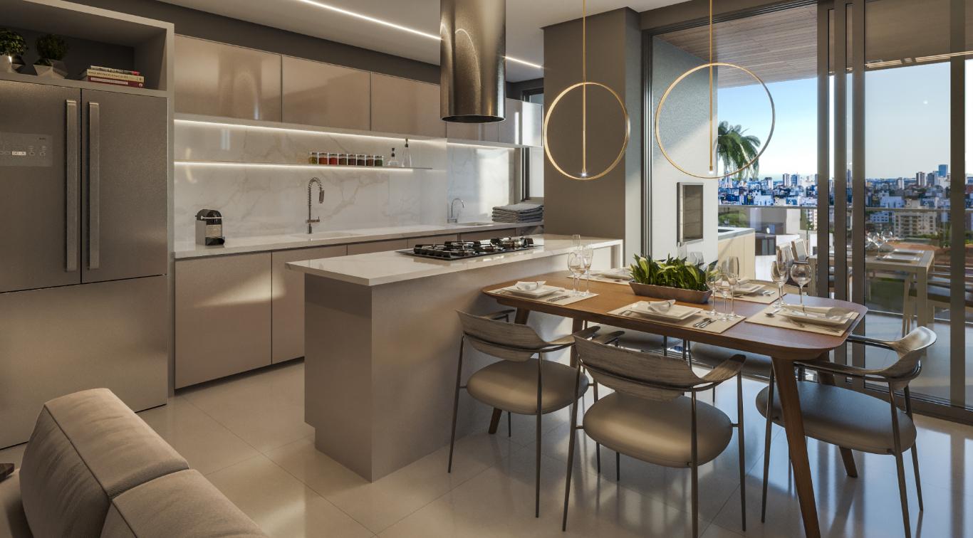 Sala de jantar e cozinha - Apartamento Tipo 3 quartos