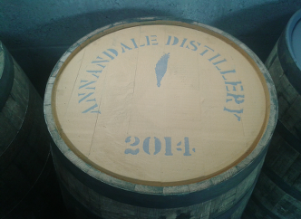 One of the barrels of whisky at Annandale Distillery here in Annan.