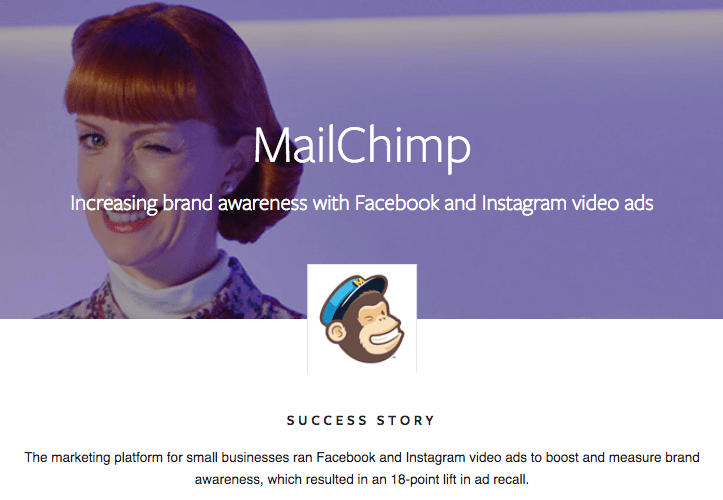 mailchimp is a Facebook Success story because they have gotten a 18-point lift in ad recall