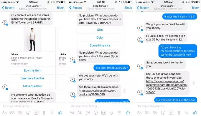 Facebook Messenger Bot Example of a conversation