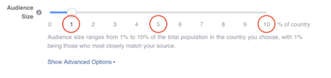 How to know what option is the best for Facebook Lookalike audiences based on size