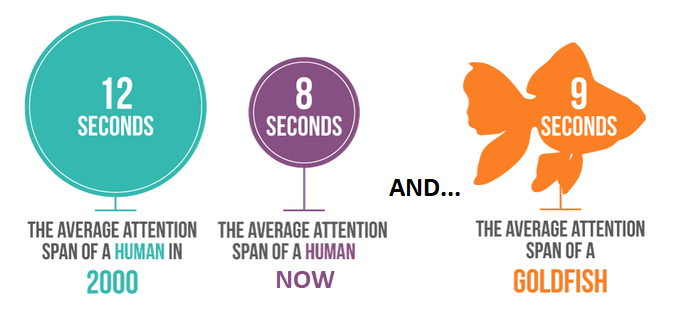 Human attention spans versus a goldfish attention span
