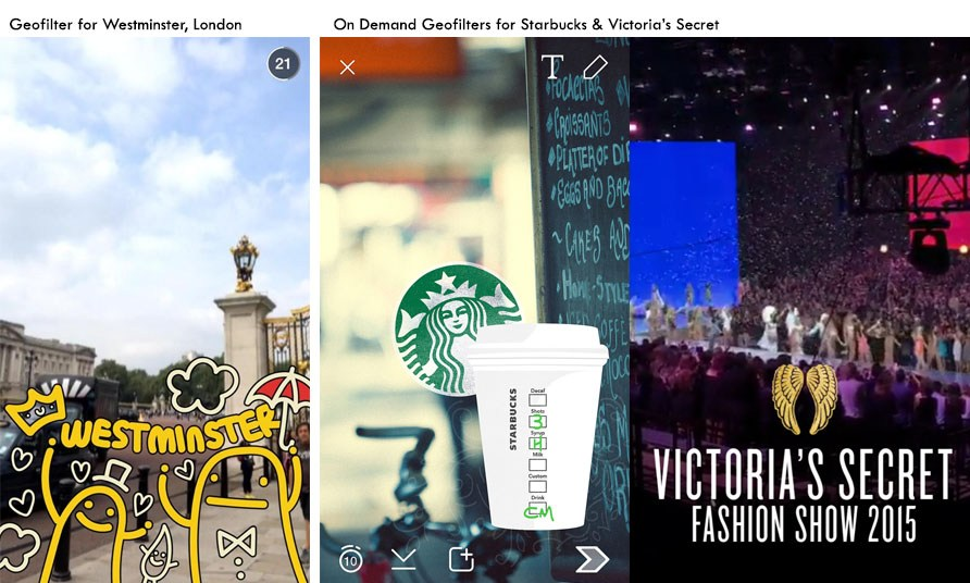 Snapchat Geofilters of Starbucks and Victoria Secret