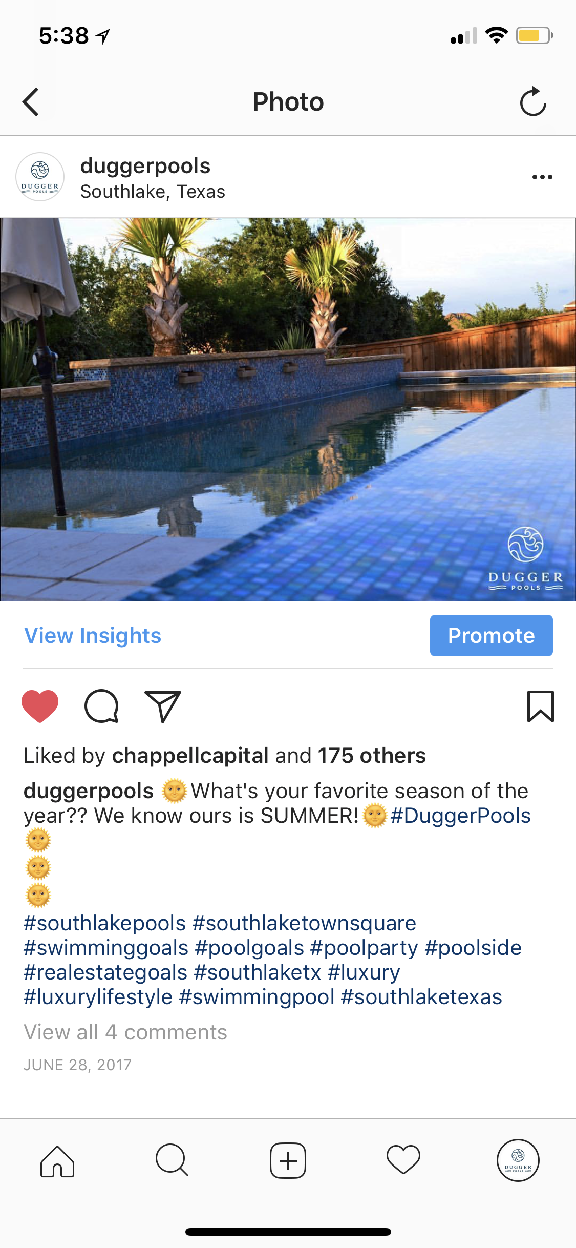 Instagram post example for a pool company that got a lot of engagement
