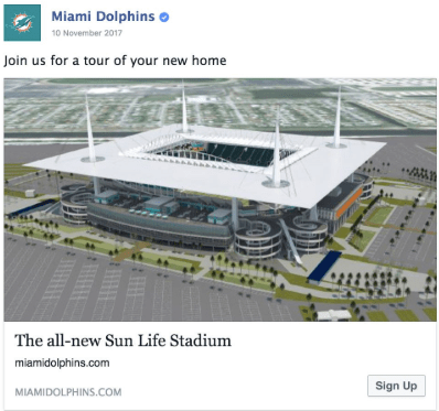 Miami dolphin Facebook post example the got great engagement results