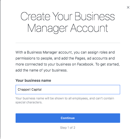 Create your facebook manager account