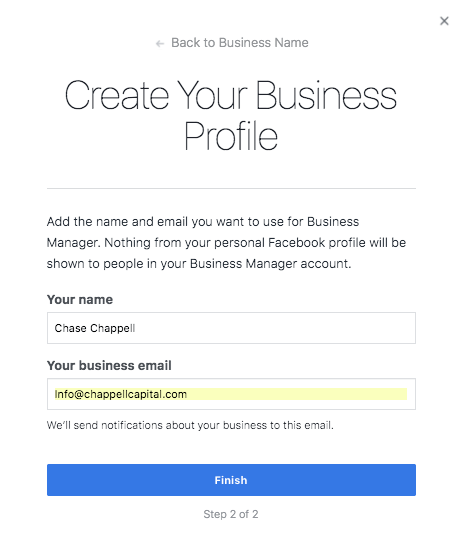 Create your business manager profile