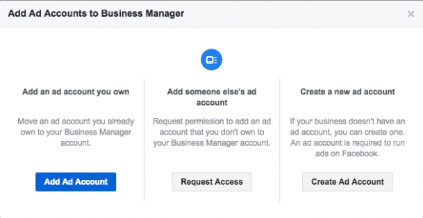 adding your facebook ad account to start running Facebook ads