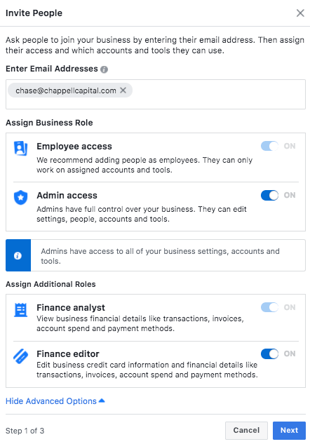 Facebook ad account example email