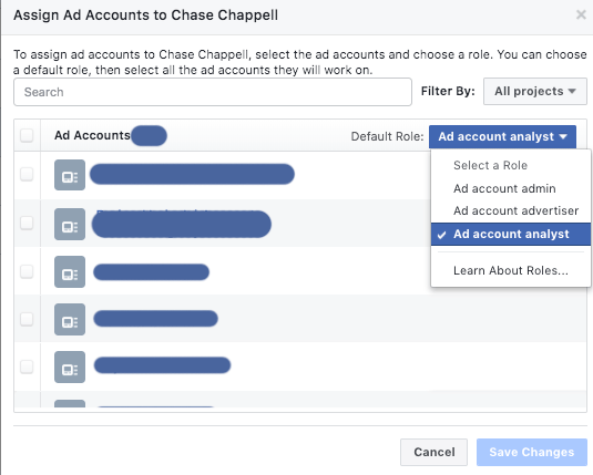 assigning Facebook ad account roles in your business manager