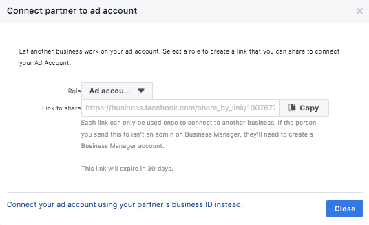 Connecting your Facebook partner to your page