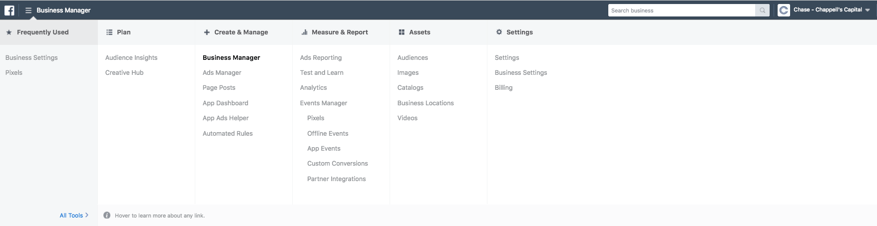 What the Facebook business manager dashboard looks like