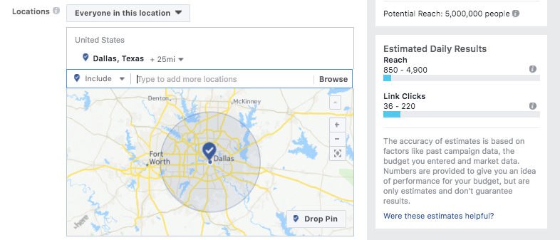 Facebook distance targeting in Dallas, Texas