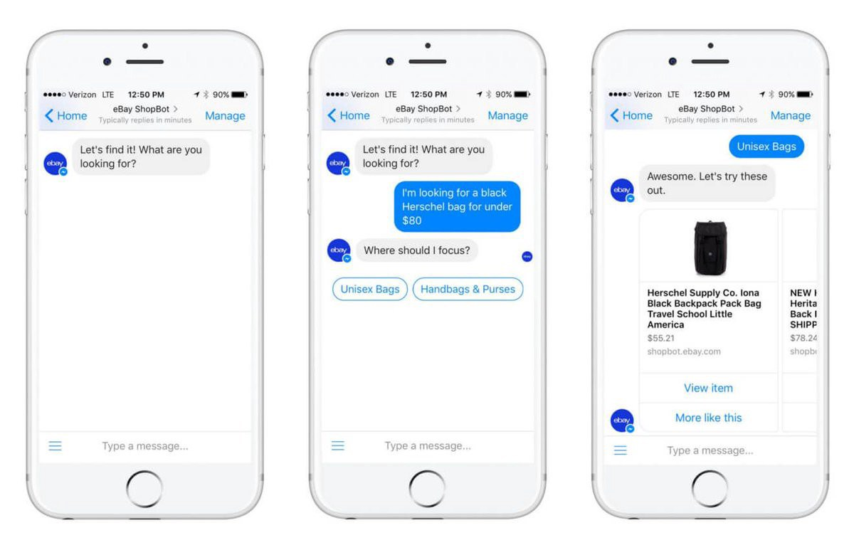 Example of Facebook Messenger chatbot for ecommerce brands