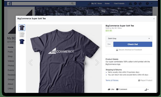 Big Commerce ecommerce facebook shop