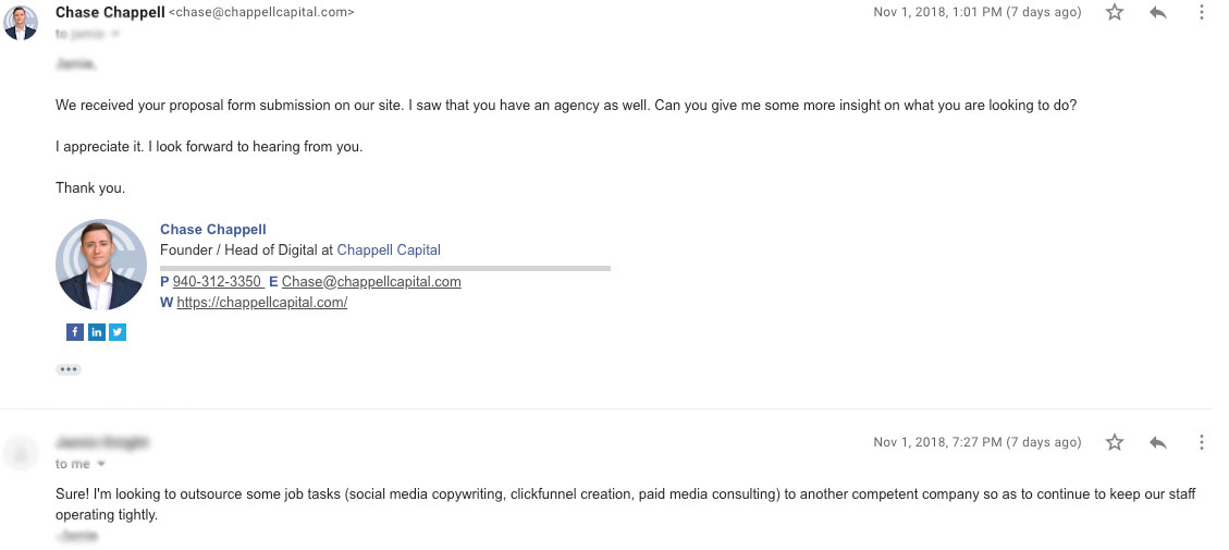 Example email of marketing agency contacting another agency