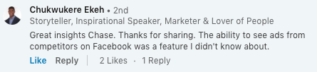 Great Insights, Linkedin Comment