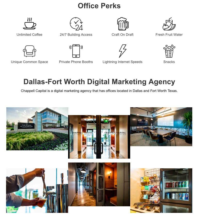 Digital Marketing Agency Office perks Dallas Fort Worth