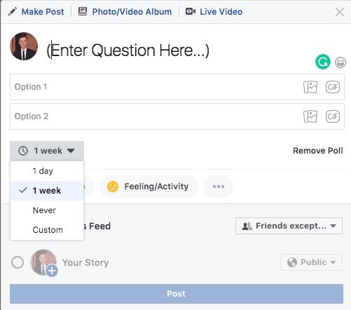 Facebook poll examples