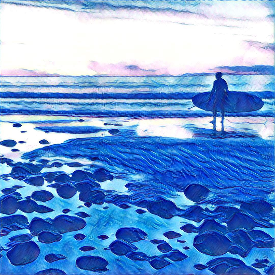 Painting of a surfer at sunset using mostly blue and white paint color.