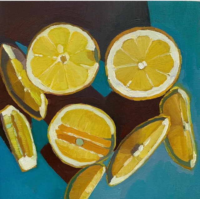 A still life painting of yellow lemons on a blue table top