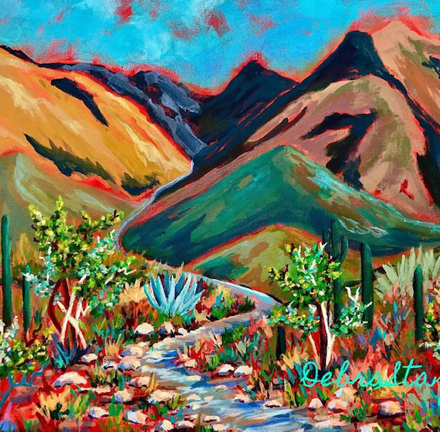 Impressionistic painting of mountains, a steam and cacti.