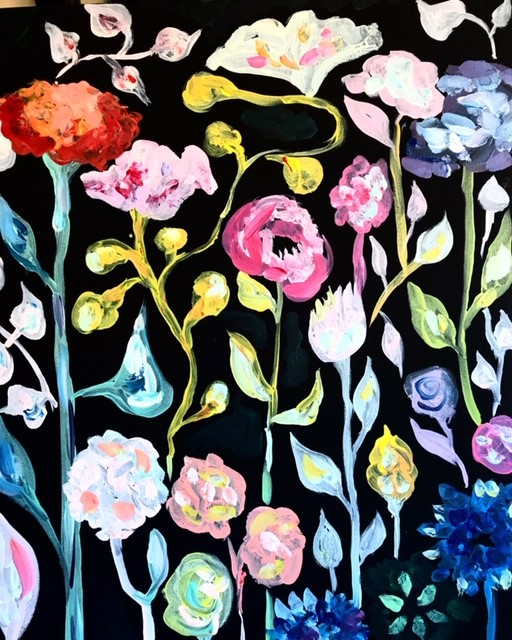Painting of colorful tall flowers on a black background.