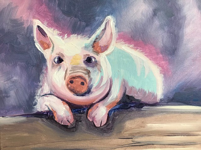 Painting of a piglet