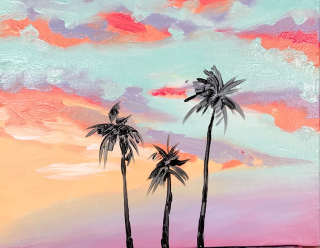 painting of a sunset with palm trees