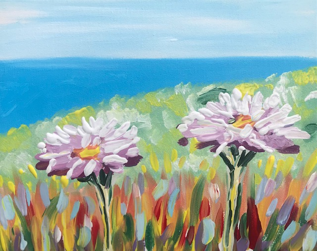 Painting or two daises in front of the ocean