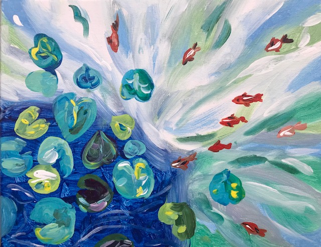 Painting of a goldfish pond
