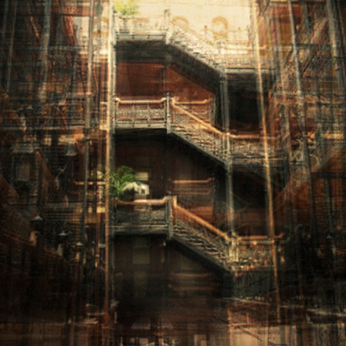 Composite photography image by Alan Horsager of the Bradbury Building wrought iron stairs using dozens of found images through a Google search