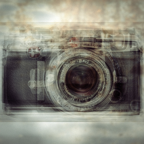Composite photography image by Alan Horsager of a rangefinder camera using dozens of found images through a Google search