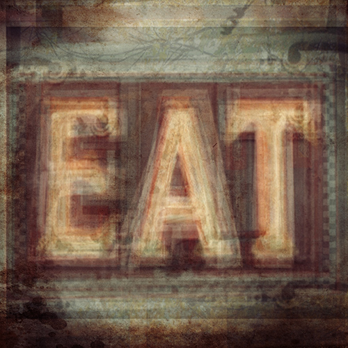 "Composite photography image by Alan Horsager of a neon sign that says, ""Eat"" using dozens of found images through a Google search"