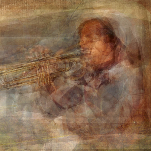 Composite photography image by Alan Horsager of a jazz trumpet player using dozens of found images through a Google search