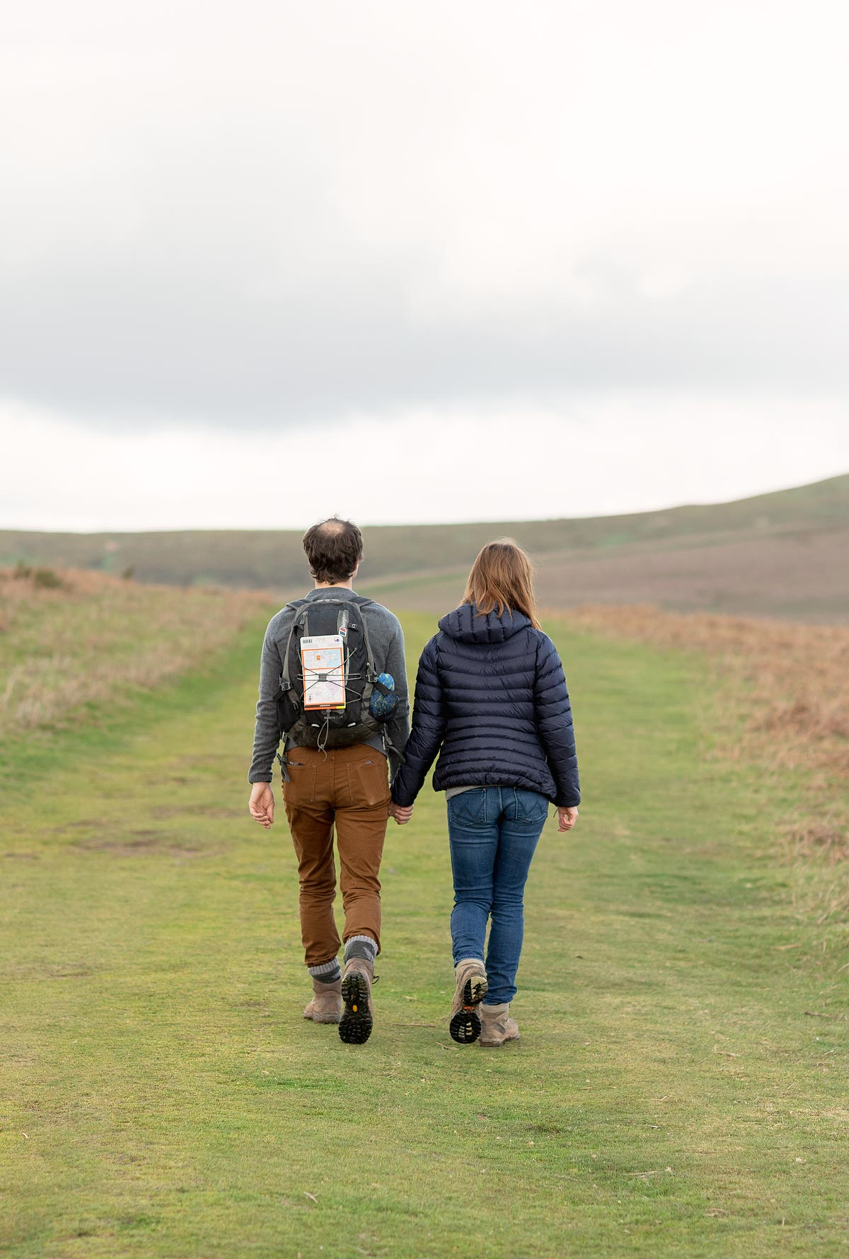 Engaged couple on hiking trip in Wales UK