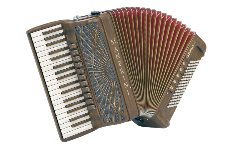 New Manfrini Artisan Piano Accordion with painted wood finish For Sale.