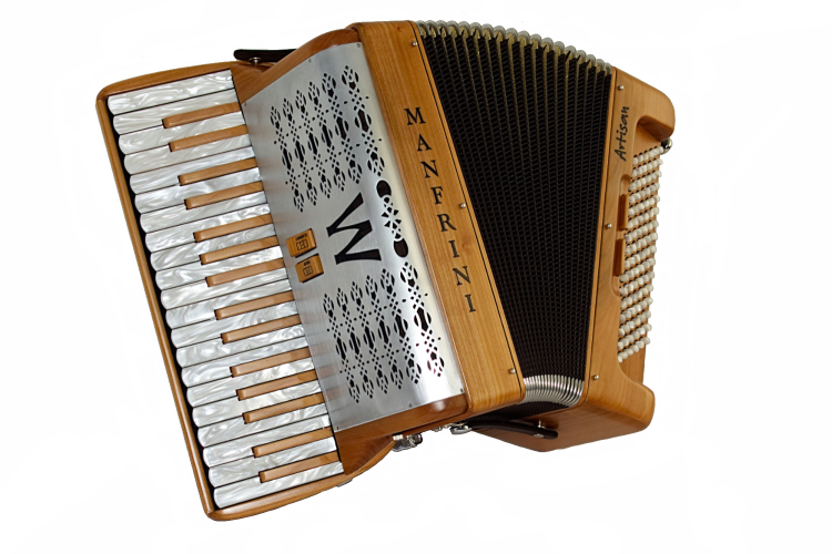 New Manfrini Artisan Piano Accordion finished in cherry wood with metal grille For Sale.