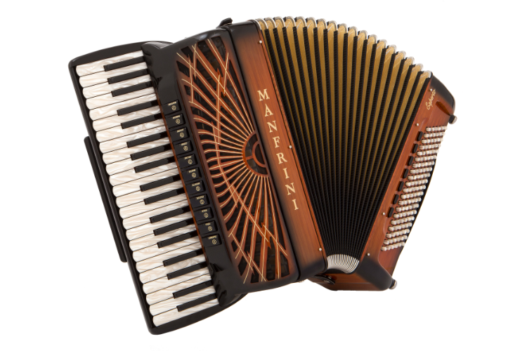 New Manfrini Esperto S Double Cassotto Piano Accordion with painted finish over celluloid For Sale.