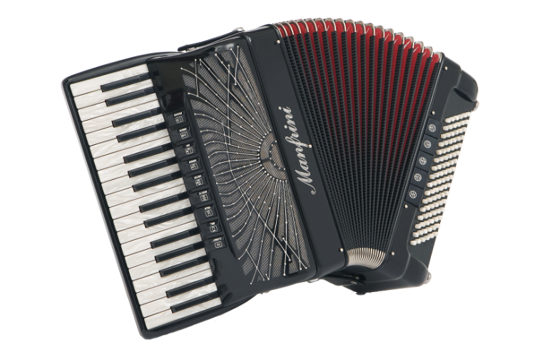 New Manfrini Artisan Double Cassotto Piano Accordion For Sale.