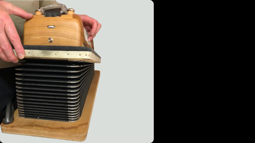 Accordion Tuning and Repairs - Accordion reed blocks after refurbishment.