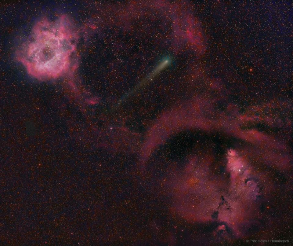 La comète 21P entre la nébuleuse de la Rosette et la nébuleuse du Cône