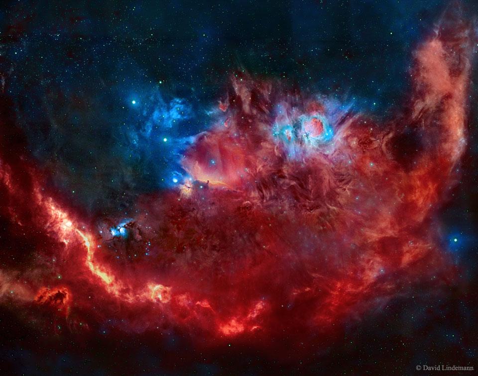 Orion en rouge et bleu