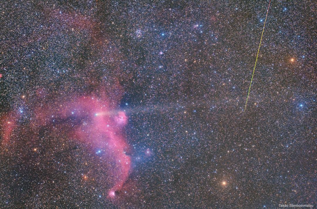 Météore, comète et nébuleuse de la Mouette