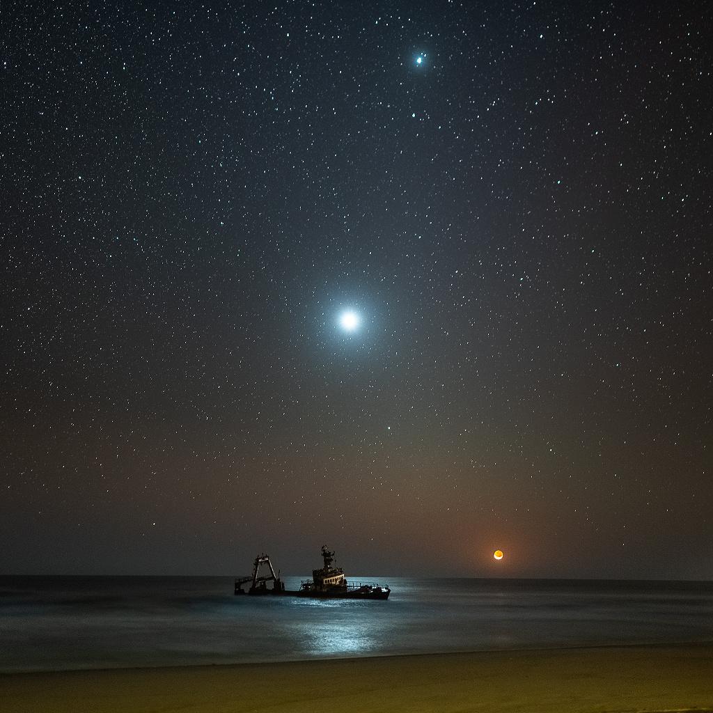 Naufrage au coucher de la Lune