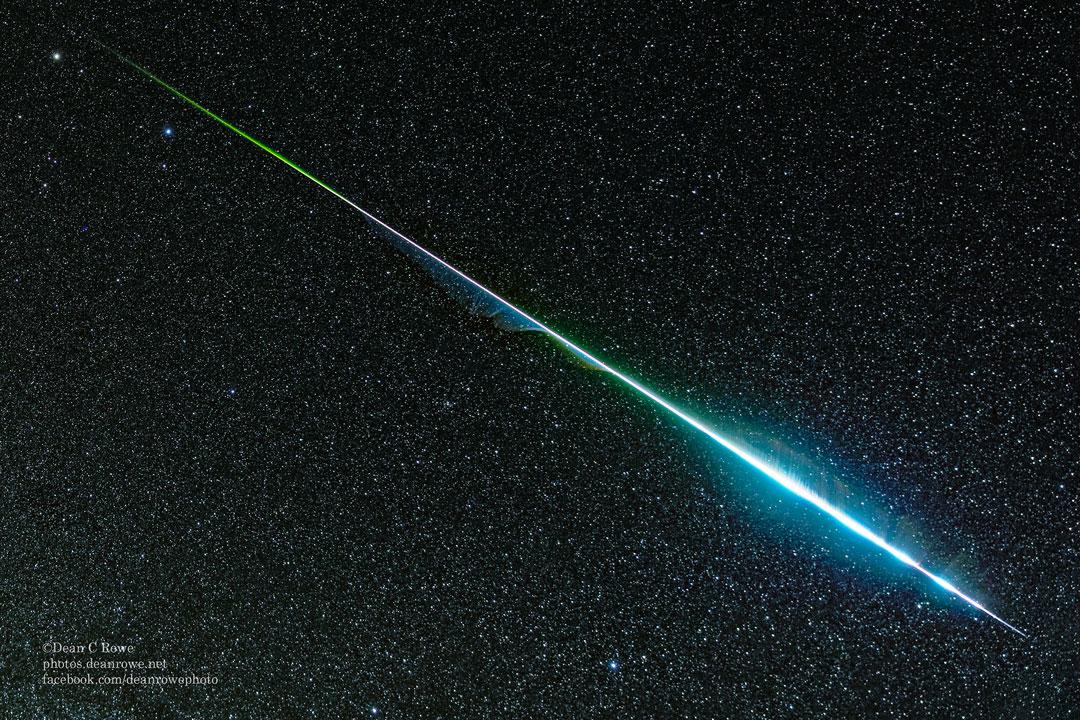 Un météore Géminide arc-en-ciel