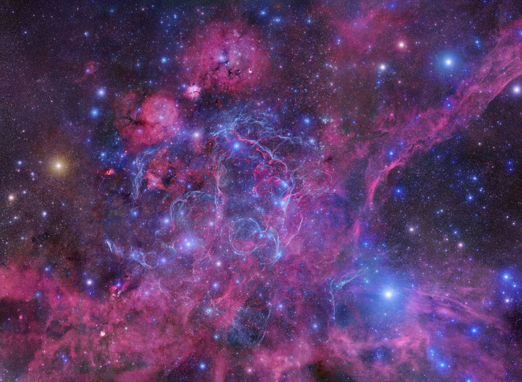 Mosaïque des rémanents de supernova dans la constellation des Voiles