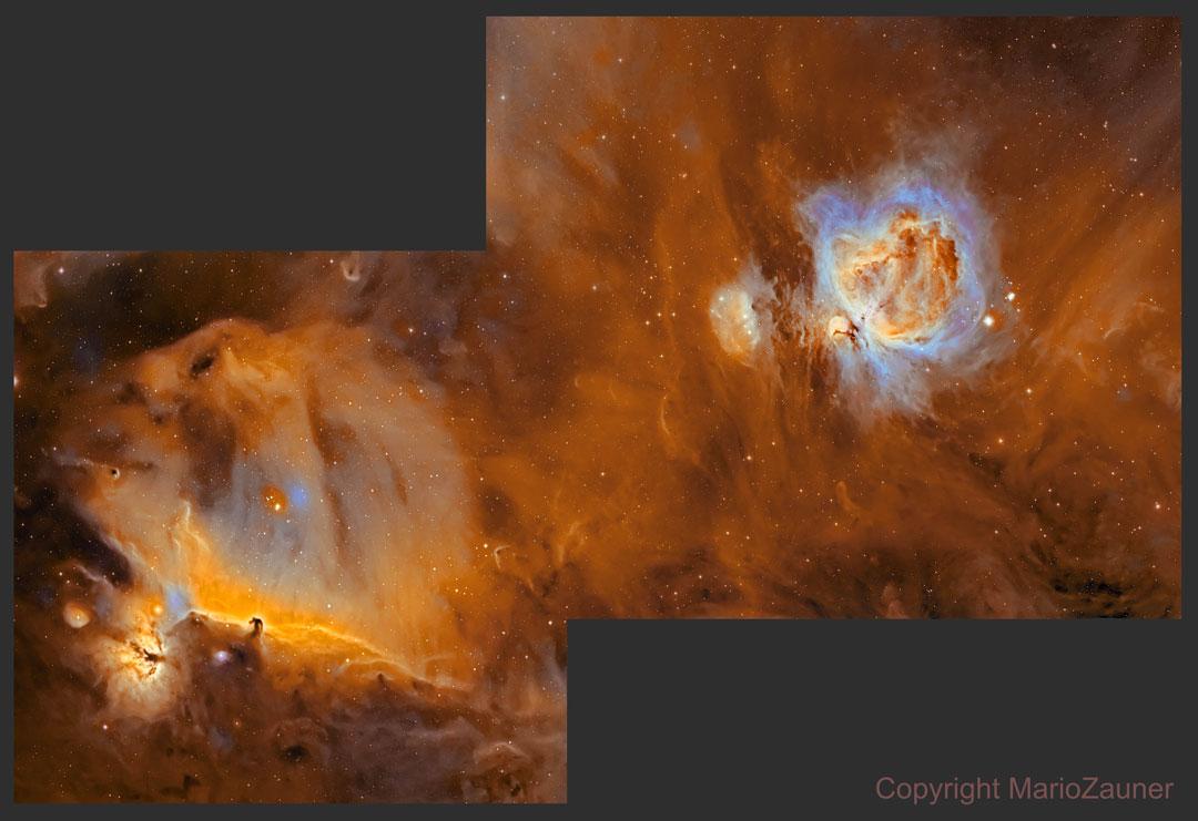 La nébuleuse de la Tête de Cheval & la nébuleuse d'Orion