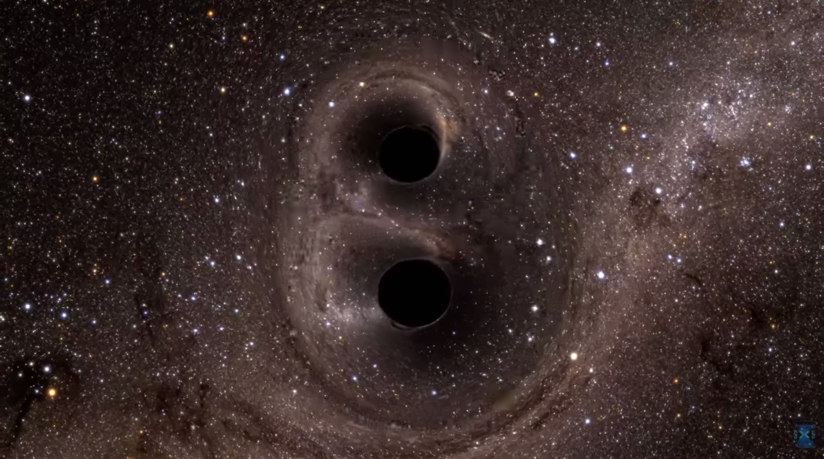 Simulation : fusion de deux trous noirs