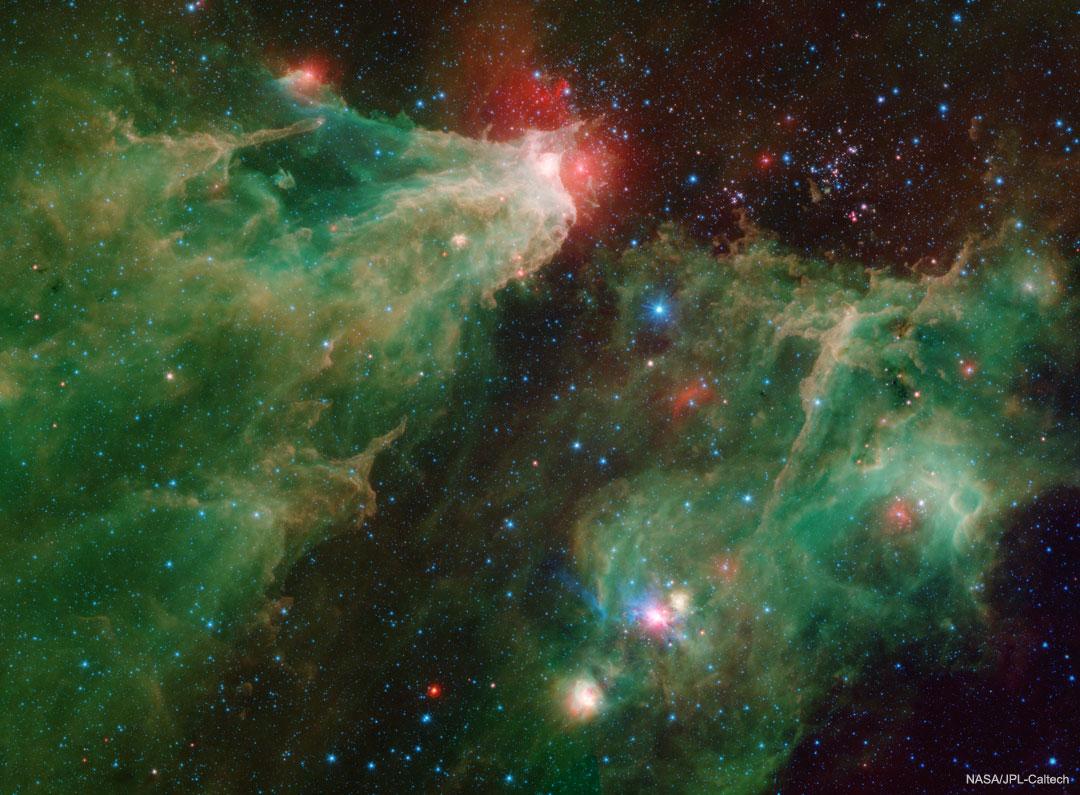 La nébuleuse de la Grotte en infrarouge depuis Spitzer